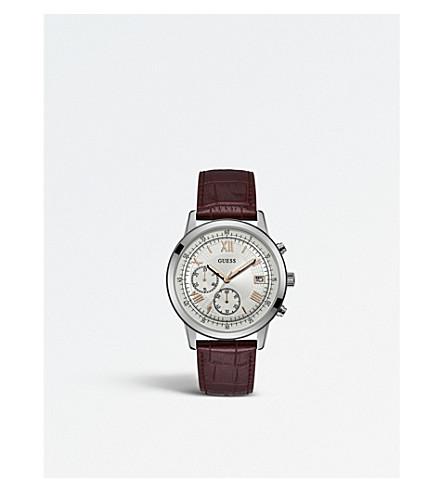 GUESS W1000G2 标志性不锈钢和皮革计时手表