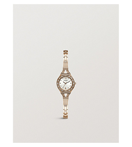 GUESS W1034L4 Iconic rose gold-plated and diamanté watch