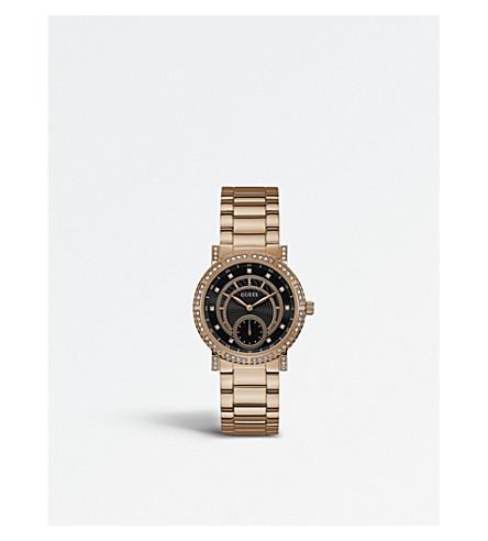 GUESS W1006L2 星座 PVD 玫瑰镀金不锈钢腕表