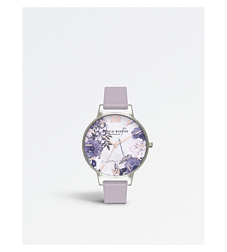 OLIVIA BURTON OB16MF05 Marble Floral silver-plated and leather watch