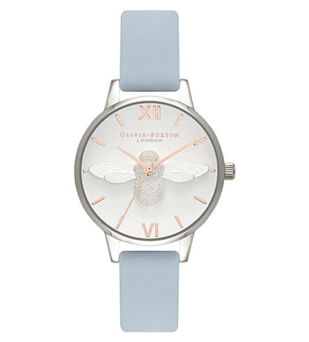 OLIVIA BURTON OB16AM125 Moulded Bee leather and gold watch