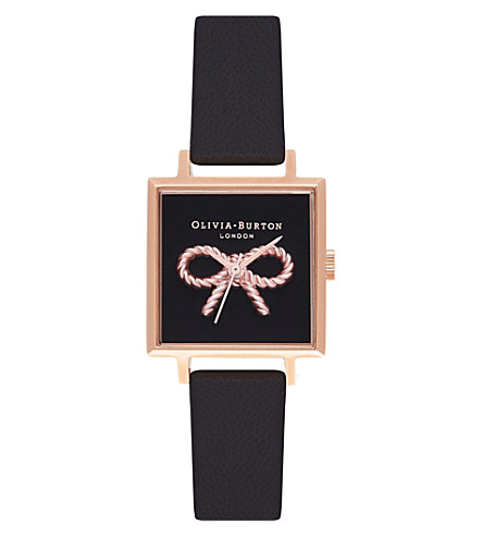 OLIVIA BURTON OB16VB03 Midi 3D Vintage Bow rose gold-plated leather watch