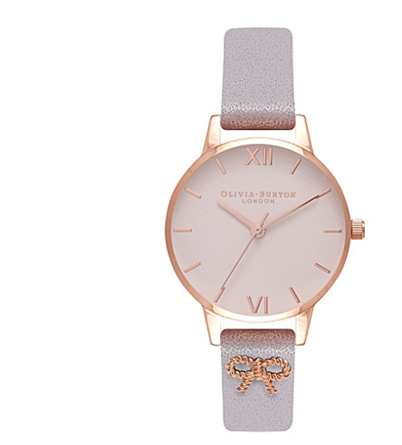 OLIVIA BURTON OB16VB05 3D Vintage Bow rose gold-plated leather watch