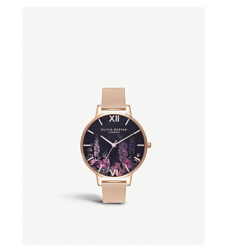 OLIVIA BURTON OB16EX94 Dark Bouquet rose gold-plated watch
