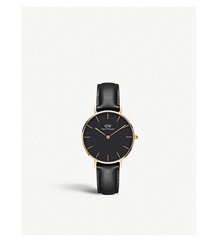DANIEL WELLINGTON Classic Petite Sheffield rose-gold and leather strap quartz watch