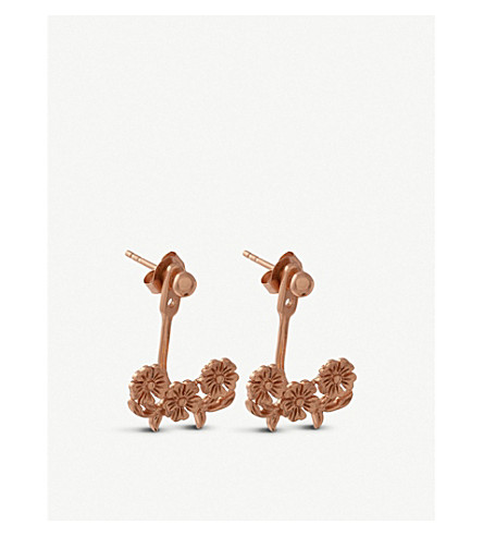 OLIVIA BURTON Floral lace-detail 18ct rose gold-plated jacket earrings