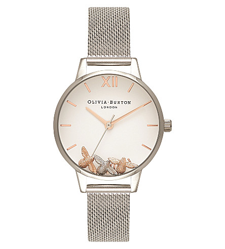 OLIVIA BURTON Trio bee silver quartz mesh strap watch