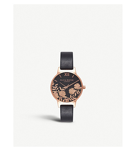 OLIVIA BURTON 674256 Floral rose gold-plated leather watch