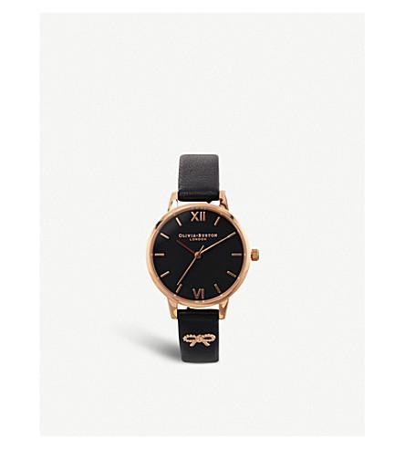 OLIVIA BURTON Vintage bow rose-gold plated leather strap quartz watch