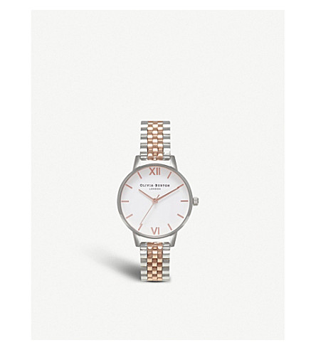 OLIVIA BURTON OB15WD40 Wonderland silver and rose-gold plated link bracelet quartz watch