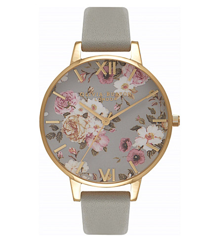 OLIVIA BURTON OB16FS81 Flower Show gold-plated leather strap quartz watch