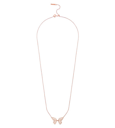 OLIVIA BURTON Butterfly wing necklace rose gold