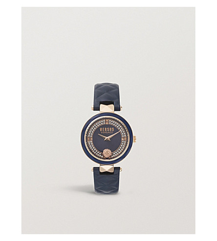VERSUS Covent Garden stainless steel and leather watch