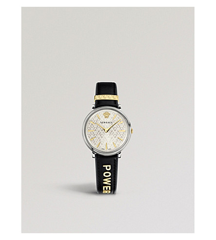 VERSACE Manifesto Power sterling silver and gold-plated leather strap watch