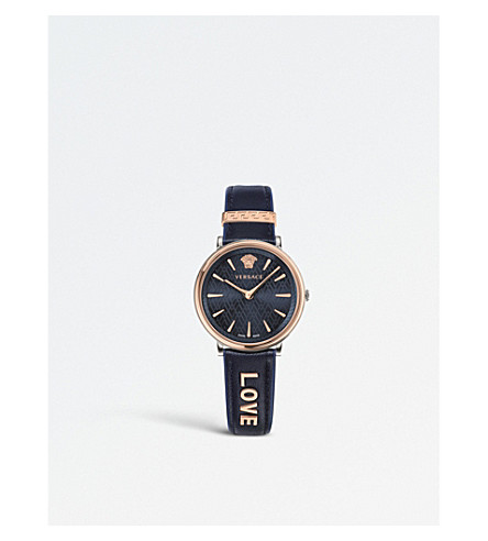 VERSACE Manifesto Love IP rose-gold and leather watch