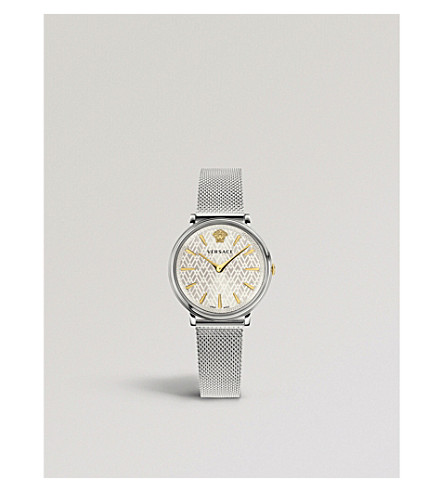 VERSACE V-Circle Manifesto sterling silver and gold-plated watch