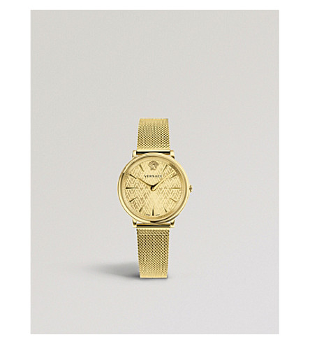 VERSACE V-Circle Manifesto gold-plated watch