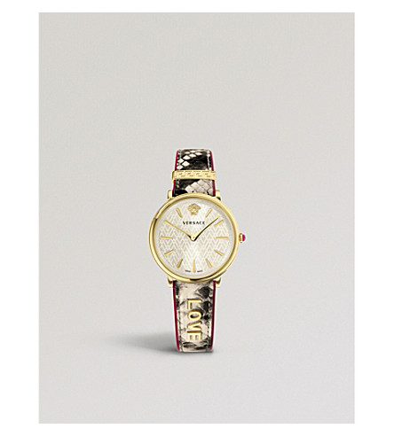 VERSACE Manifesto Love gold-plated suede strap watch