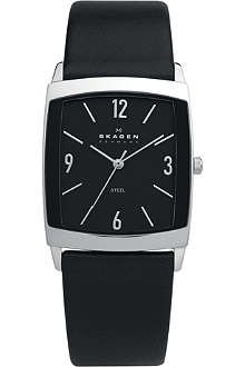 SKAGEN 691LSLB stainless steel and leather watch