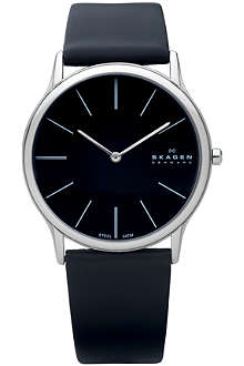 SKAGEN 858XLSLB stainless steel and leather watch