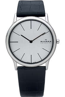 SKAGEN 858XLSLC stainless steel and leather watch