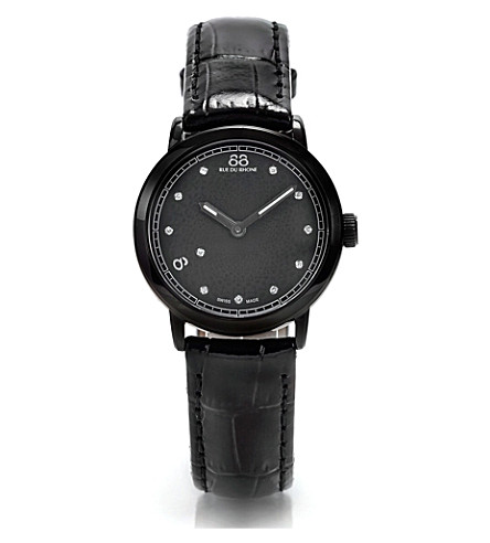 88 RUE DU RHONE 87WA120001 stainless steel and leather watch (Black
