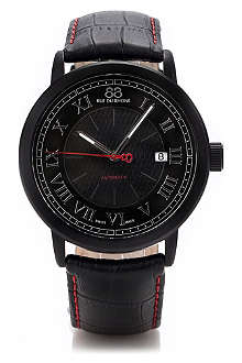 88 RUE DU RHONE 87WA120041 black stainless steel and leather automatic watch