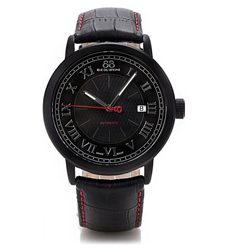 88 RUE DU RHONE 87WA120041 black stainless steel and leather automatic watch (Black