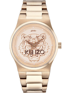 KENZO 9600205 Rose-gold tiger head watch