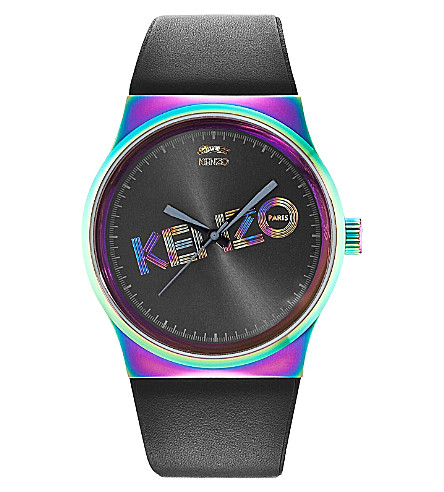 KENZO 9600322 Unisex stainless steel and leather tiger watch (Grey
