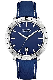 BULOVA 96B204 Moonview Accutron II stainless steel and leather watch