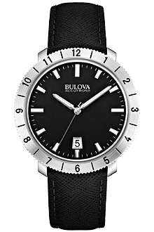 BULOVA 96B205 Moonview Accutron II stainless steel and leather watch