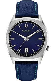 BULOVA 96B212 Surveyor Accutron II stainless steel and leather watch