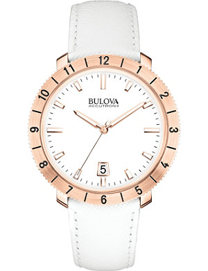 BULOVA 97B128 Moonview Accutron II rose-gold PVD and leather watch