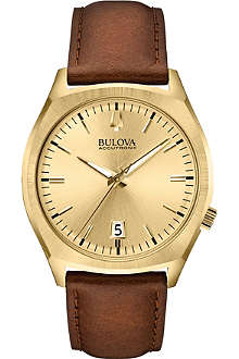 BULOVA 97B132 Surveyor Accutron II yellow-gold PVD and leather watch