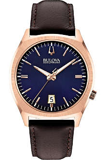 BULOVA 97B133 Surveyor Accutron II rose-gold PVD and leather watch