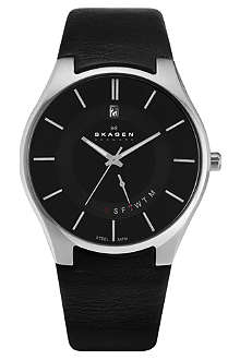 SKAGEN 989XLSLB stainless steel and leather watch