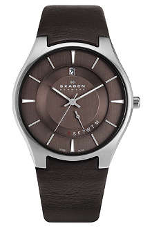 SKAGEN 989XLSLD stainless steel and leather watch