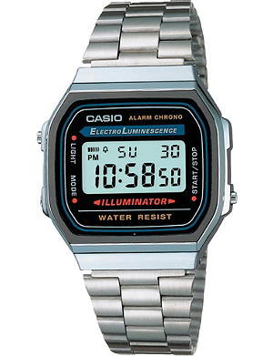 CASIO A168WA1YES unisex stainless steel digital watch