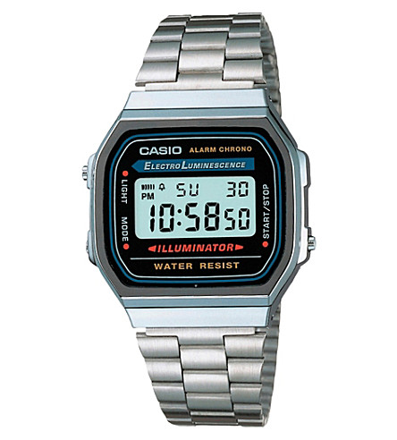 CASIO A168WA1YES unisex stainless steel digital watch (Silver
