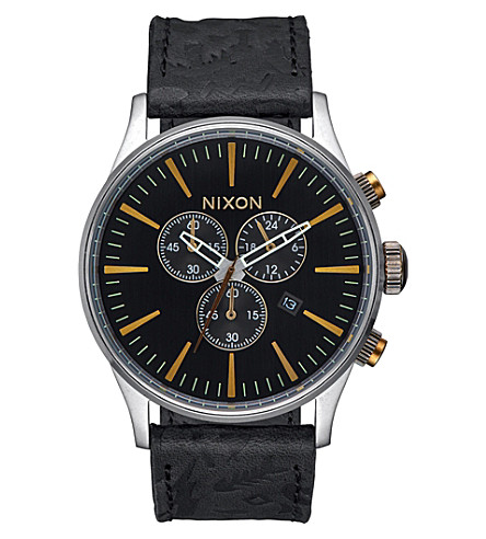 NIXON Sentry chronograph A405-2222-00 stainless steel watch (Black