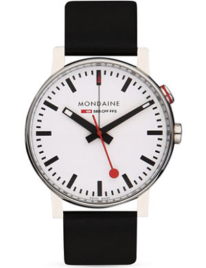 MONDAINE A468.30352.11SBB EVO Alarm stainless steel and leather watch