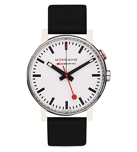 MONDAINE A468.30352.11SBB EVO Alarm stainless steel and leather watch (White