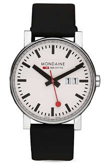 MONDAINE A627.30303.11SBB EVO Gents Big Size stainless steel and leather watch