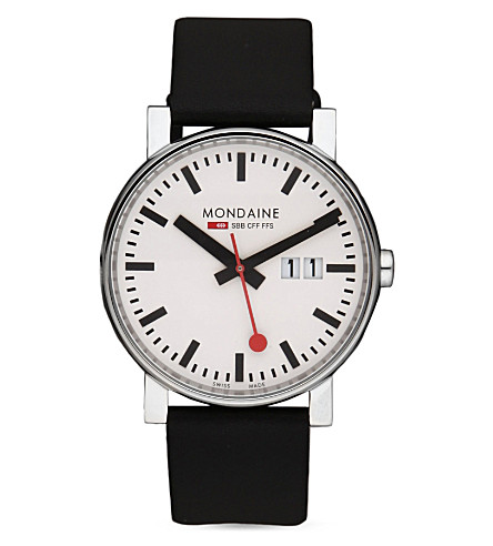 MONDAINE A627.30303.11SBB EVO Gents Big Size stainless steel and leather watch (White