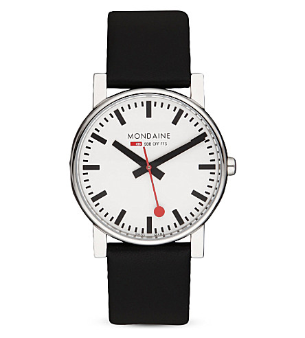 MONDAINE Monochrome stainless steel watch (White