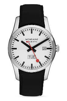 MONDAINE Black stainless steel watch