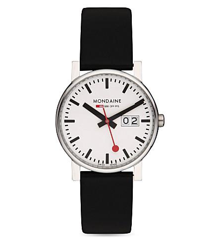 MONDAINE Monochrome stainless steel watch (White