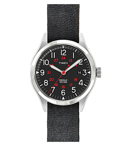 TIMEX ARCHIVE ABT115 Waterbury stainless steel and leather watch
