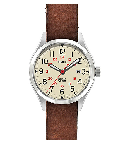 TIMEX ARCHIVE ABT116 Waterbury stainless steel and leather watch